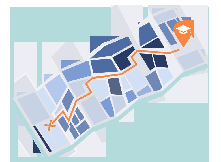 kaart naar een studie